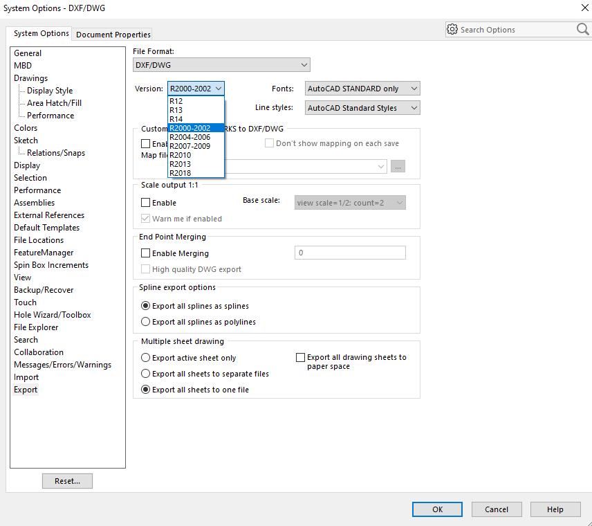 การส่งไฟล์จาก SOLIDWORKS ไปยัง DraftSight