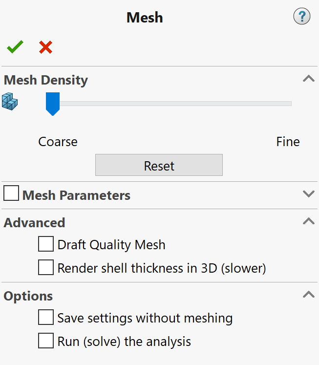 Draft Quality Mesh solidworks